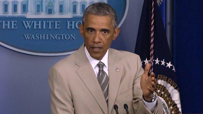 President Obama Beige Suit