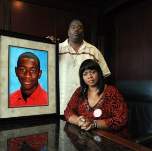 Andrew and Deanna Joseph, parents of Andrew Joseph, student who was struck by a car and killed after being ejected from the fair grounds.