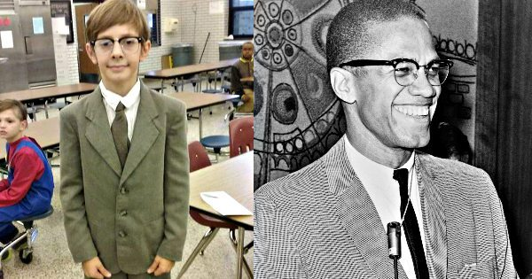 Kid Came to Halloween Party at School Dressed as His Hero; Malcolm X (No Black Face Needed)
