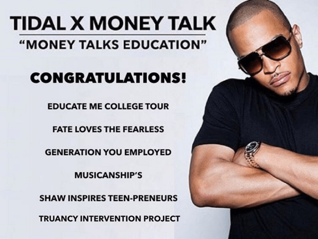 T.I. Donates $35,000 Tidal Money Talk